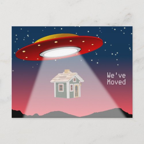 Weve Moved Flying Saucer New Address Announcement Postcard