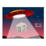 We've Moved Flying Saucer New Address Postcard