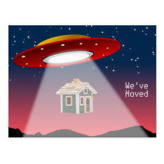 We've Moved Flying Saucer New Address Postcard at Zazzle