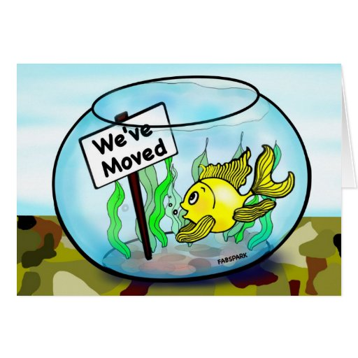 We've Moved for military service funny goldfish Card