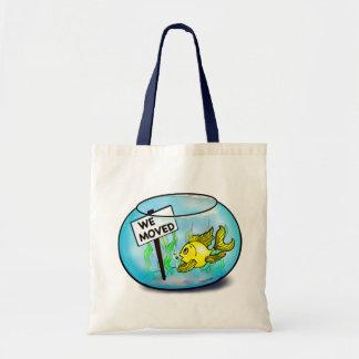 We've Moved funny cute goldfish fish tank cartoon Budget Tote Bag