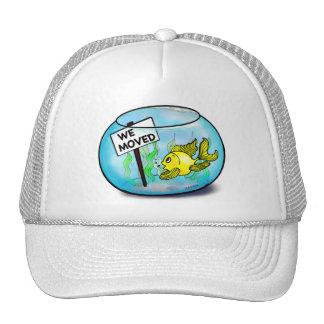 We've Moved funny cute goldfish fish tank cartoon Trucker Hat