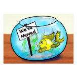 We've Moved funny cute goldfish fish tank cartoon Personalized Announcement
