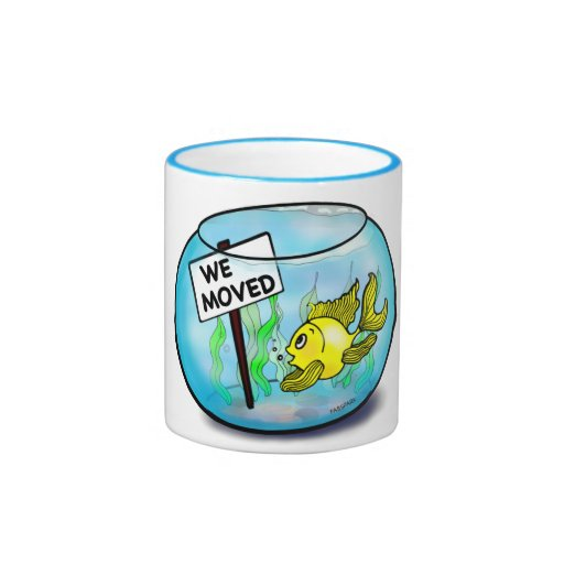 We 39 ve moved funny cute goldfish fish tank cartoon 10 oz for Cute fish tanks