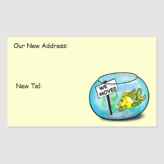 We've Moved funny cute goldfish fish tank cartoon Stickers