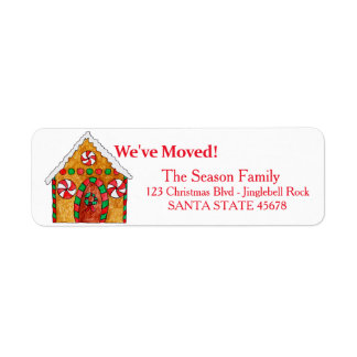 We've Moved Gingerbread house  Christmas label