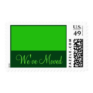 We've Moved green Postage Stamp