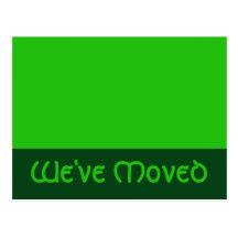 we've moved green postcard