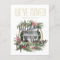 We've Moved Holiday Housewarming Open House Moving Announcement Postcard
