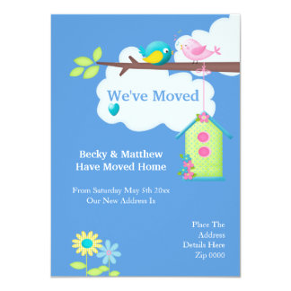 Weve Moved Home Bird House And Tree 4.5x6.25 Paper Invitation Card