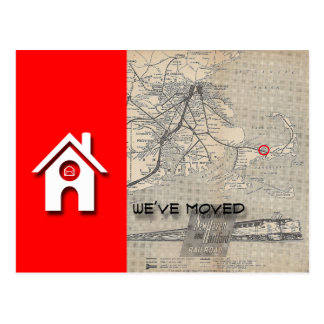 We've moved House & Map  Replace with your own Map Postcard