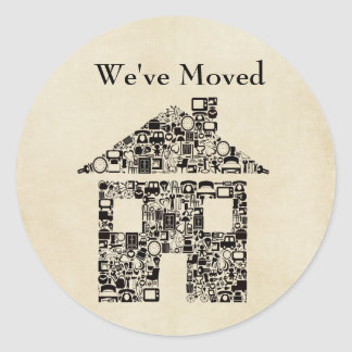 We've Moved House Sticker/Label Classic Round Sticker