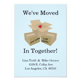 """We've Moved In Together Announcement 5"""" X 7"""" Invitation Card"""