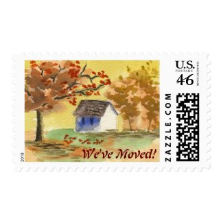 We've Moved Little Cottage Autumn Tree Fall Leaves Stamps