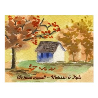 We've Moved Little Cottage Autumn Tree Fall Leaves Postcards