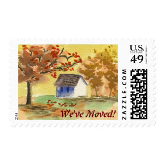 We've Moved Little Cottage Autumn Tree Fall Leaves Stamp