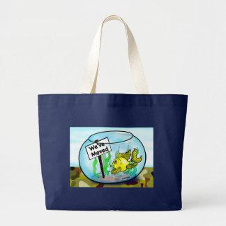 We've Moved Military  goldfish fish tank cartoon Tote Bag