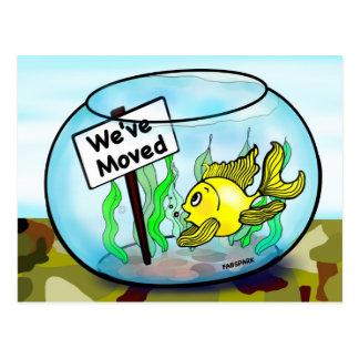 We've Moved Military  goldfish fish tank cartoon Postcard