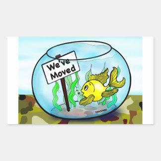 We've Moved Military  goldfish fish tank cartoon Rectangular Sticker