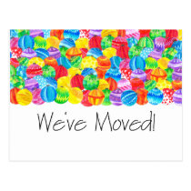 We've Moved/New Address , watercolor baubles Postcard