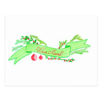 We've Moved/New Address , watercolor Christmas Postcard