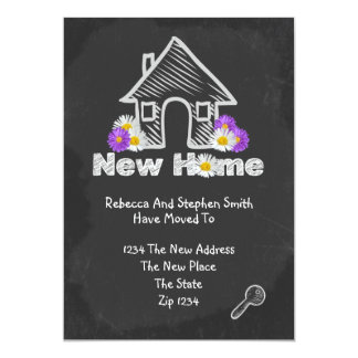 We've Moved New Home Blackboard Doodle Card
