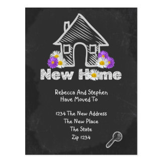 We've Moved New Home Blackboard Doodle Postcards