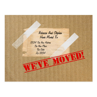 We've Moved New Home CardBoard Box Postcard
