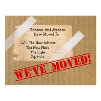 We've Moved New Home CardBoard Box (printed flat) Postcard