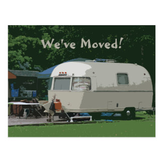 We've Moved Old Camper Camping Address Change Postcard