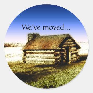 We've Moved Old Log Cabin Sticker