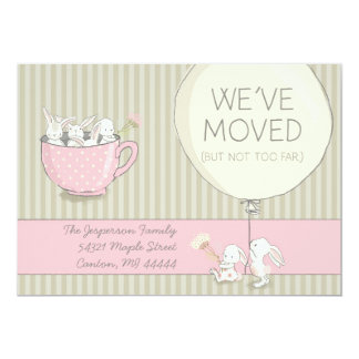 We've Moved Pink and Beige Bunnies with Flowers Card