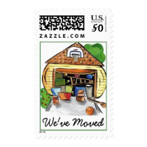 We've Moved Postage Stamp