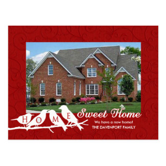 We've Moved - Red Home Sweet Home Birds on a Limb Postcard