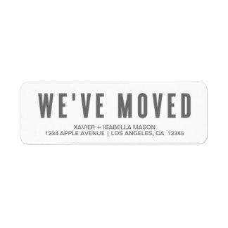 We've Moved | Return Address Labels