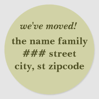 we've moved! return address labels - personalize classic round sticker