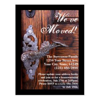We've Moved, Rustic Door Moving Postcard