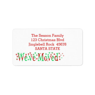 We've Moved Snowflake Christmas Label