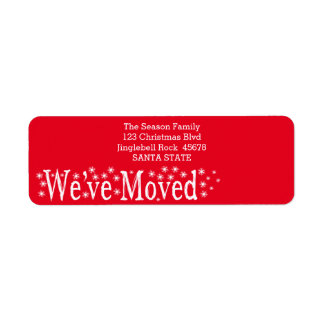 We've Moved Snowflake Christmas Return Address Label