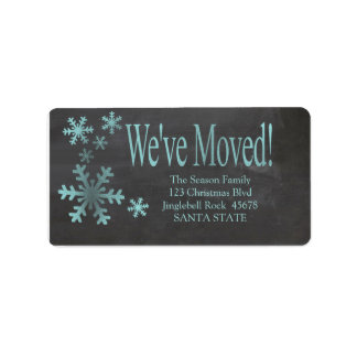 We've Moved snowflake holiday Label