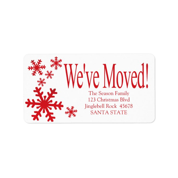 we 39 ve moved snowflake holiday label zazzle. Black Bedroom Furniture Sets. Home Design Ideas