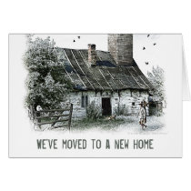 we have a new address, we have moved, new house, new home, hausewarming, moving house, house warming party, relocating, fairy house, change of address, moving, moving notice, dreams, fairytales, cool, we moved, state, new address, home, template, houk, unique, Card with custom graphic design