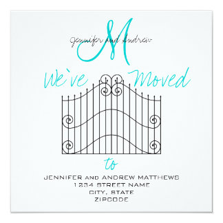 """We've Moved to New Address Announcement 5.25"""" Square Invitation Card"""