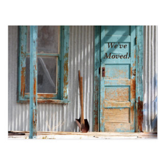 We've Moved Turquoise Door Shovel New Address Card