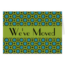 We've Moved Turquoise Green Circles Stationery Note Card