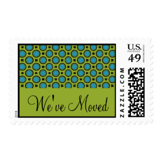 We've Moved Turquoise Green Postage Stamp