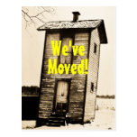 We've Moved! Vintage 2 Story Outhouse Postcard