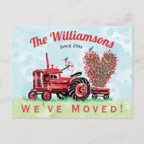 We've Moved Vintage Red Tractor Heart Announcement Postcard