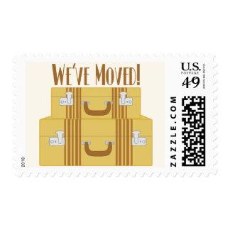 We've Moved - Vintage Suitcases Postage Stamp