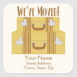 We've Moved - Vintage Suitcases Square Sticker